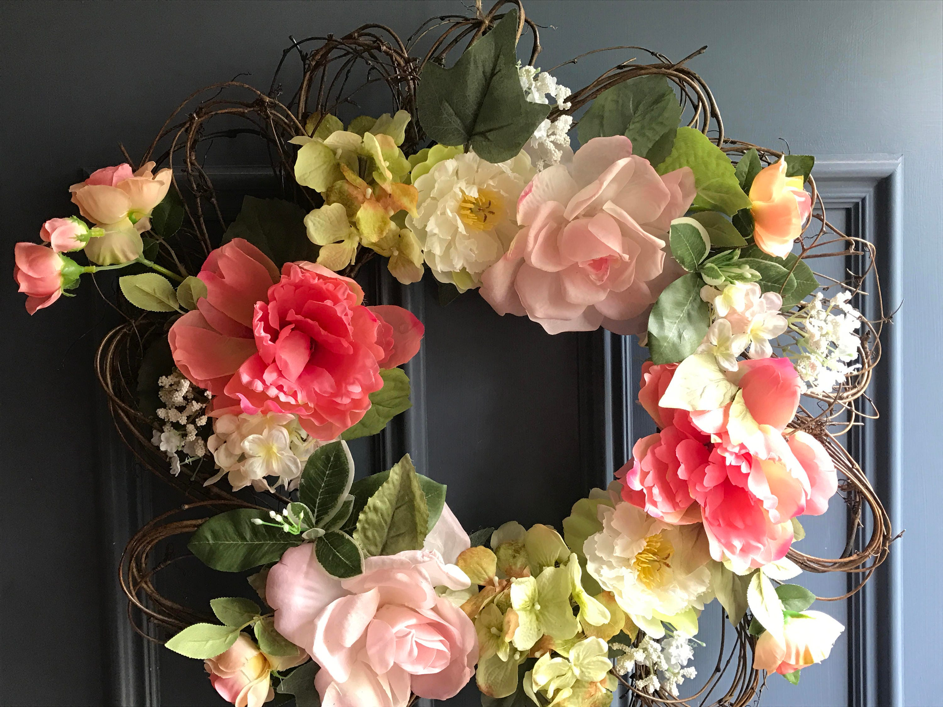 Flower Shaped Grapevine Wreath Featuring Hydrangea Roses Etsy