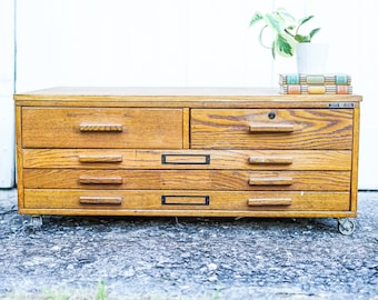 Vintage Mayline Wooden Flat File, Card Catalog File, Map File, Map Cabinet,  Art File