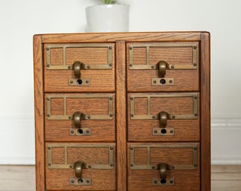File Away.... Vintage Library Card Catalog File, Six Drawers, Dewey Decimal, Card File, Library File, Card Catalogue