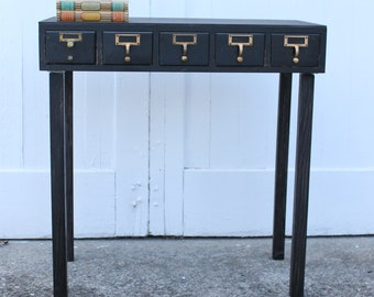 File Away....Vintage Black Library Card Catalog Foyer Table, Library File, Card Catalogue, Card File, Dewey Decimal