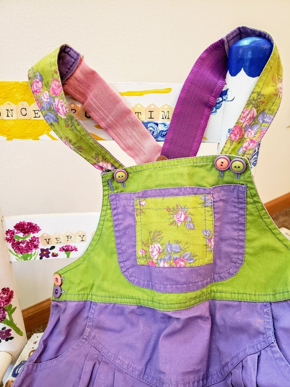 Sweet and Colorful Girls Vintage Overall Shorts, A