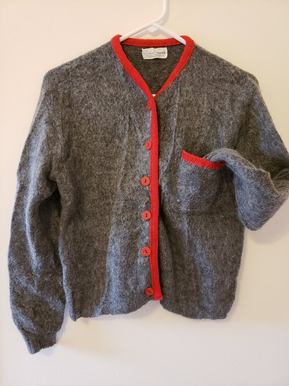 Vintage 1960s Mohair and Wool Sweater in Red and G