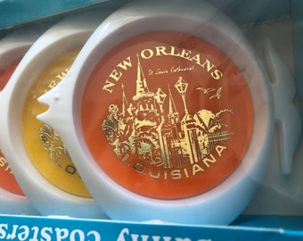 Sunny Coaster 1960's New Orleans, Louisiana Fish Shaped Coasters New in Box