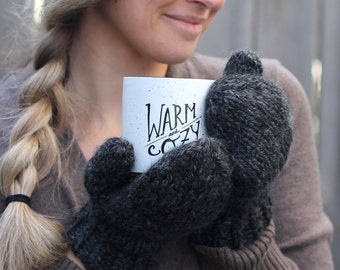 Cozy Knit Wool Mittens- Color Charcoal Grey- Dark Gray Warm Handmade Mittens