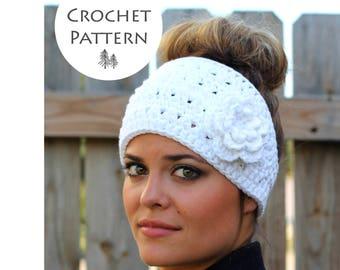 CROCHET PATTERN - Boho Flower Headband Crochet Pattern- Crocheted Ear Warmer- Instant Download- PDF