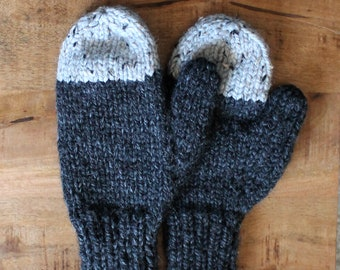 Cozy Knit Wool Mittens- Color Charcoal Gray with Light Gray- Two Tone Warm Handmade Mittens