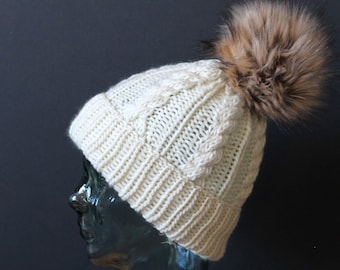 100% Wool Knitted Cable Beanie in Creamy Off White with Faux Fur Pom Pom- LUXURY YARN