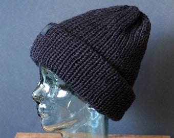 Double Knit Extra Thick and Cozy Beanie in Black