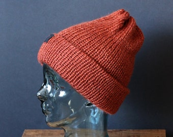 Double Knit Soft and Cozy Beanie in Deep Orange