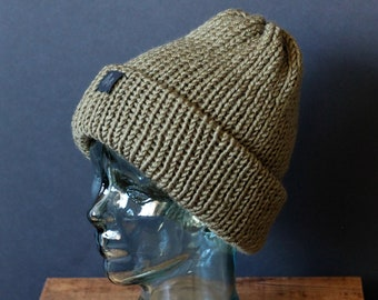 Double Knit Extra Thick and Cozy Beanie in Olive Green