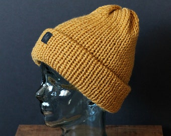 Double Knit Extra Thick and Cozy Beanie in Mustard Yellow