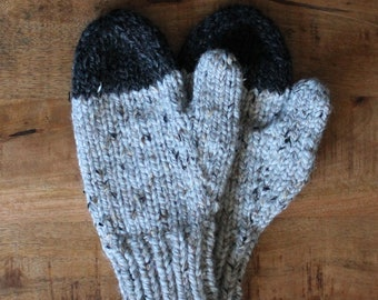 Cozy Knit Wool Mittens- Color Light Gray with Charcoal Gray- Two Tone Warm Handmade Mittens