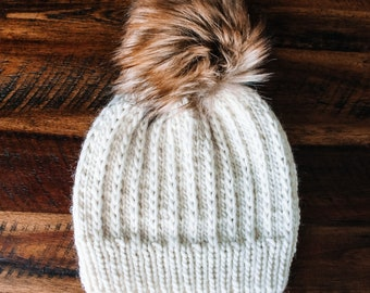 100% Wool Knitted Beanie in Off White with Faux Fur Pom Pom- LUXURY YARN