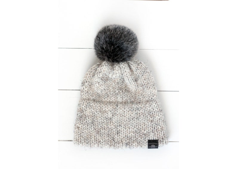 8b83f4f7c369c READY TO SHIP Knitted Double Brim Hat in Off White Wheat with