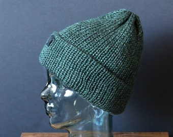 Double Knit Soft and Cozy Beanie in Forest Green