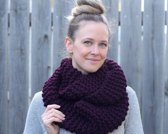 Cozy Knitted Infinity Scarf in Eggplant Purple- Wool Scarf