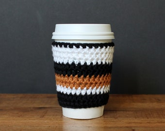 Striped Reusable Coffee Sleeve in Black, white, and gold-  Crocheted Coffee Cozy- Java Jacket