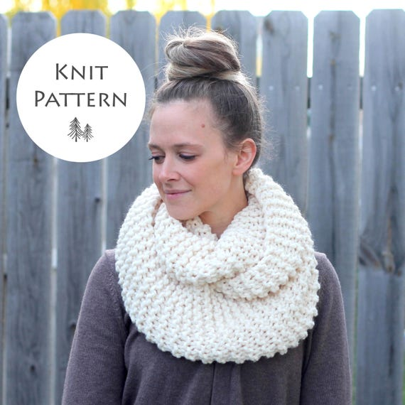 Knitting Pattern Cozy And Thick Infinity Scarf Knitting Etsy