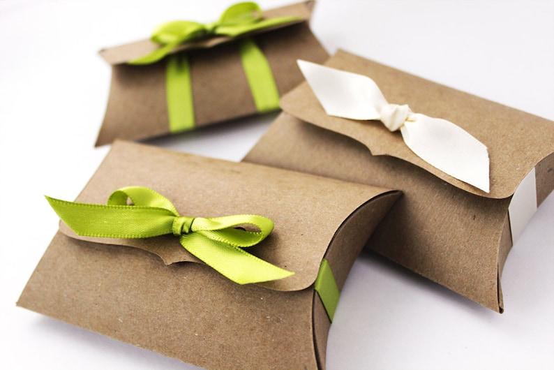 Kraft Pillow Boxes 10 Medium Ribbon Tie gift card holder  image 0