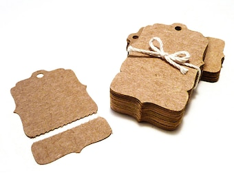 100 Perforated Hang Tags, Small Bracket Kraft Price Tags - Blank with Tear Off Section - Boutique Swing Tag