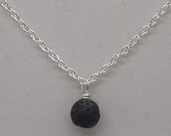 """Handcrafted Wire Wrapped Lava Stone Minimalist,18"""" Single Bead pendant,Classic simple necklace,Yoga Jewelery, gift for her, mystical magick"""