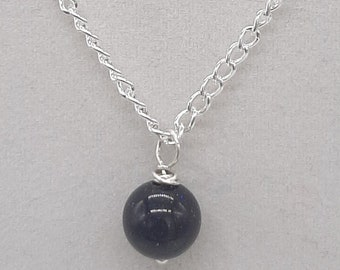 """Handcrafted Wire Wrapped Blue Goldstone Minimalist,18"""" Single Bead pendant,Classic simple necklace,Yoga Jewelery, gift for her,Blue gemstone"""