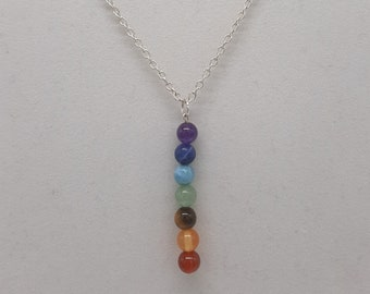 """Handcrafted Wire Wrapped Chakra gemstones Minimalist,18"""" 7 Bead Drop pendant,Classic simple necklace,Prosperity,Yoga Jewelery, Gift for her"""