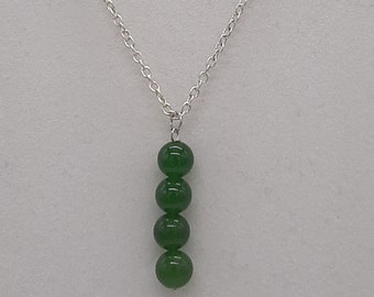 """Handcrafted Wire Wrapped Jade Minimalist,18"""" 4 Bead Drop pendant,Classic simple necklace,Prosperity,Yoga Jewelery, Gift for her idea, Green"""