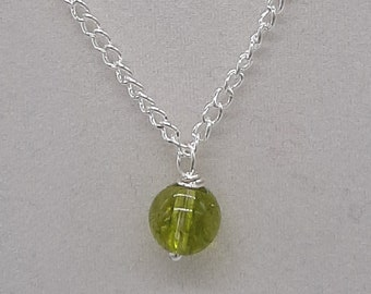 """Handcrafted WireWrapped Peridot Minimalist,18"""" Single Bead pendant,Classic simple necklace,Positive energy,,Yoga Jewelery,gift idea for her"""