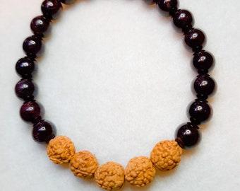 Handmade Garnet Rudraksha bead  Stack Bracelet - compassion/balance/success bracelet, reiki, mala bracelet,yoga, gift idea,boho, summer-fall