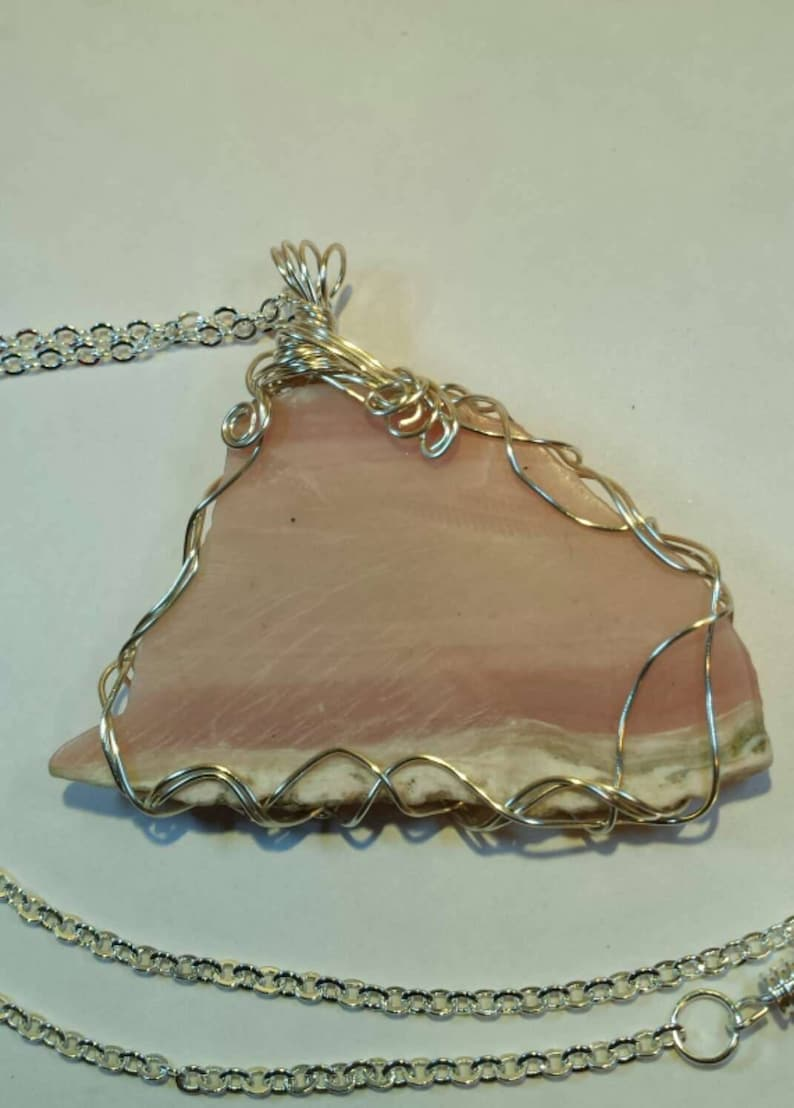 Handcrafted Wire Wrapped Pink Opal Gemstone Pendant Christmas Gift Gift for Her Heart Chakra,Yoga Jewelery Healing Crystal,Boho Jewelery