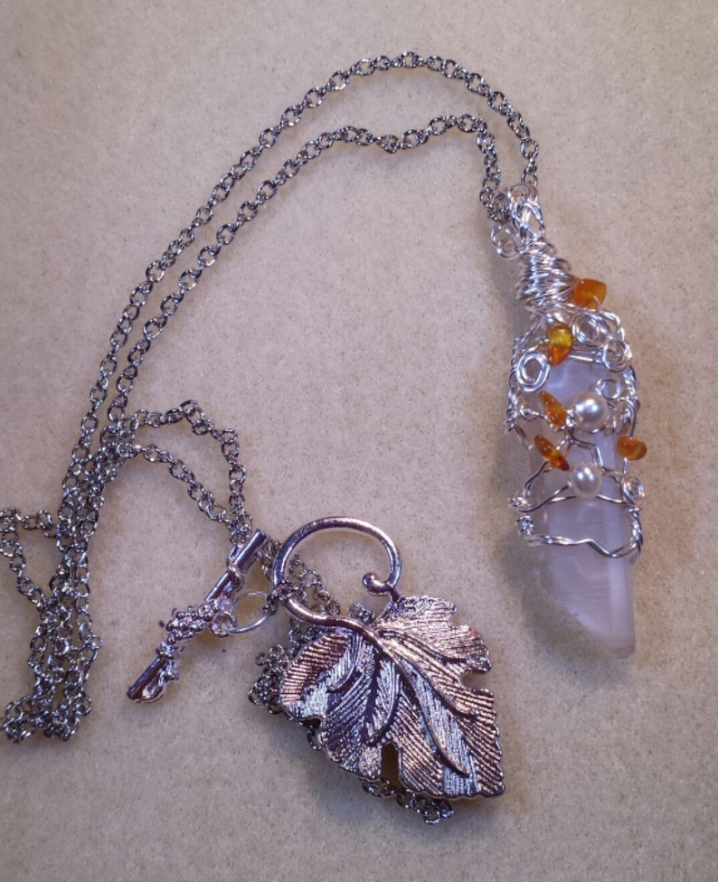 Punto De Cristal De Piedra Colgante Collar Mujer Chicas Reiki Curación Natural Reino Unido