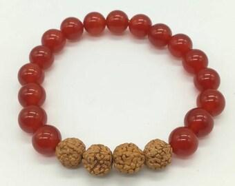 Creativity/Strength Handcrafted Carnelian Rudraksha bead Stack bracelet-Summer -Autumn Jewellery- power bracelet- red orange gemstones