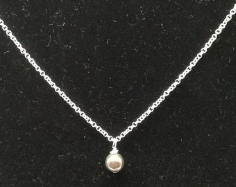 """Handcrafted Wire Wrapped Pyrite Minimalist,18"""" Single Bead pendant,Classic simple necklace,Yoga Jewelery, Christmas gift idea, gift for her"""
