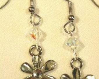 Handmade SWAROVSKI CRYSTAL and FLOWER Earrings
