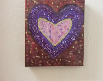 Heart Mosaic Collage/ Painting