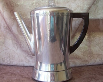 Vintage West Bend mid century Flavo-matic electric percolator coffee pot R1279-5.