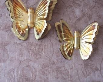 Earrings recycled tin brass leaves Butterflies