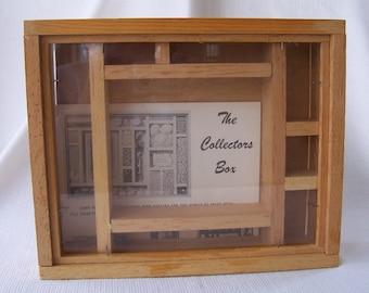 Vintage wood collectors shadow box.