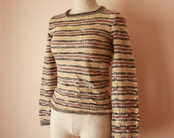 70s Space Dyed Striped Crewneck Sweater with Cinchable Waist Bobbie Brooks Size S / M