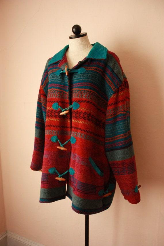 80s 90s Toggle Blanket Coat Southwestern Neon Plus