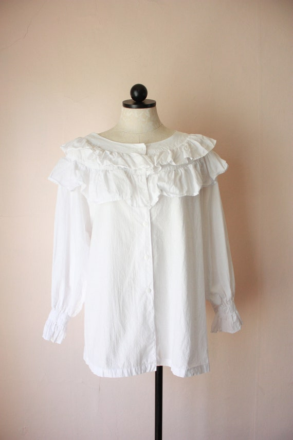 80s Deadstock Michel Ruffled Blouse Victorian Cot… - image 4