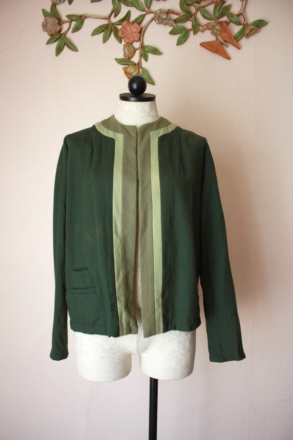 40s Green Wool Jacket Lightweight Open Bolero Colo