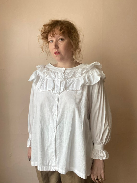 80s Deadstock Michel Ruffled Blouse Victorian Cot… - image 2
