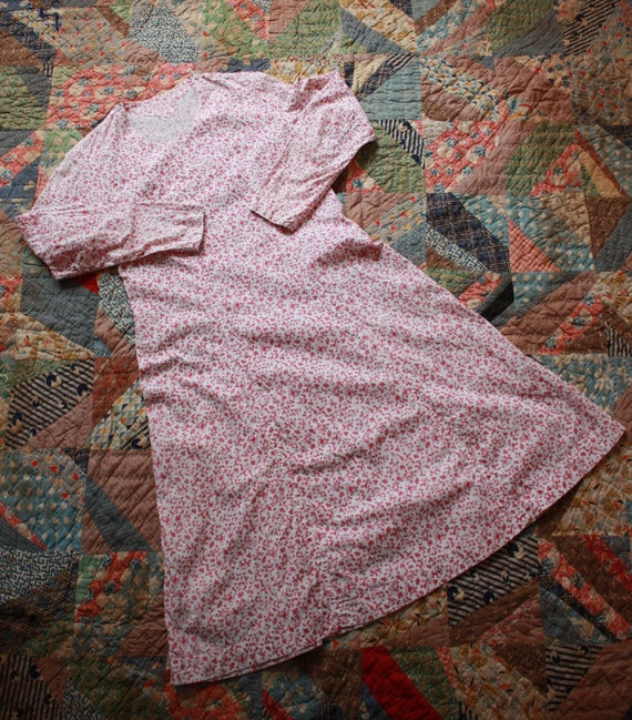 30s Feed Sack Chore Dress Cotton Floral Long Sleev