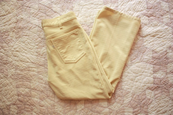 70s Levis Sta Prest Trousers Pants Yellow Flares S