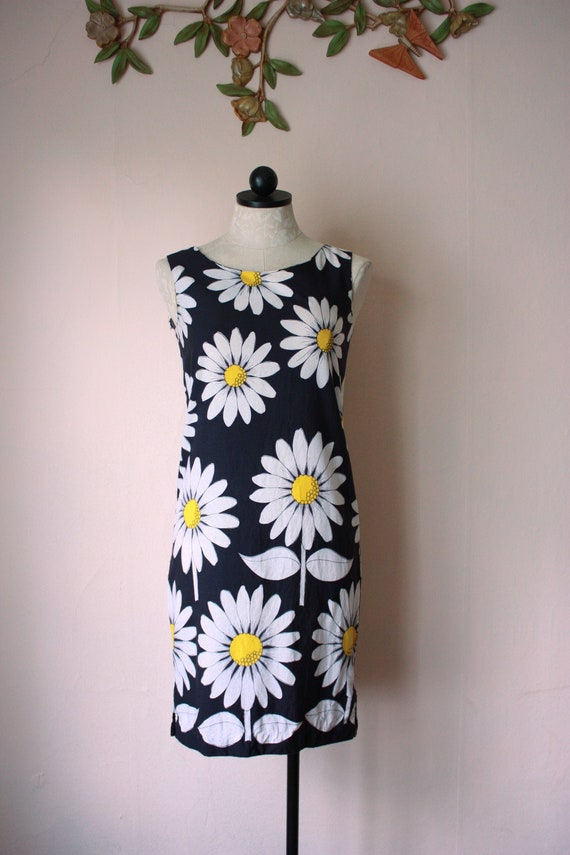 60s Daisy Print Shift Dress Navy Blue and Yellow S