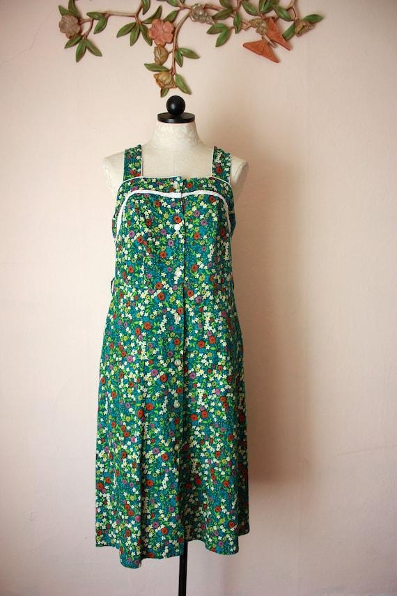 70s Cotton Floral Sundress Sleeveless Prairie Dres