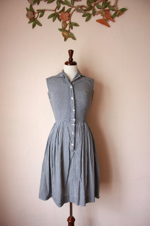 50s Black and White Gingham Dress Loop Collar Slee