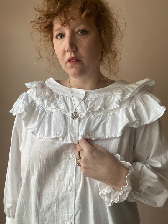 80s Deadstock Michel Ruffled Blouse Victorian Cot… - image 1